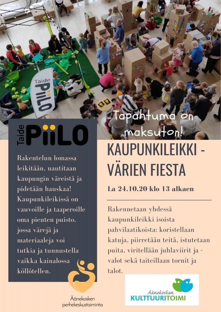 Tapahtuman Kaupunkileikki - värien fiesta mainos, Äänekoskella 24.10.